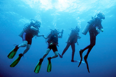 Scuba dive with friends at Grand Turk